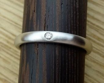 Platinum Wedding Band Single Diamond Stacking Ring  2.5 mm Wide