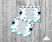 Anchor Book Insert, Nautical Bring a Book Instead of a Card, Please Bring a Book, baby shower invitation insert, printable book insert card