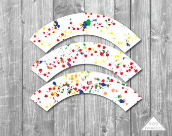 Paint Party Cupcake Wrappers, Rainbow Party, Artist Party, Instant Download