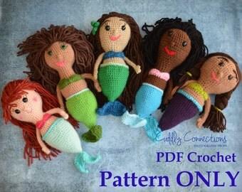 PATTERN, Mermaid Doll, Crochet Pattern, Crochet Mermaid Doll Pattern, Mermaid Crochet Pattern, Crochet Doll, Amigurumi Pattern