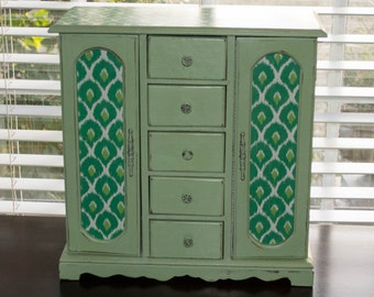 Vintage Hand Painted SHABBY CHIC Green Jewelry Box, Jewelry Storage, Green Jewelry Box