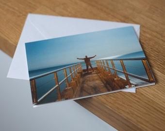 Titanic Sleepwalk - a moonlit, long exposure seascape. Fine art photography greetings card. Blank inside.