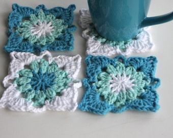 Aqua Crochet Coasters Set of 4 for the Home