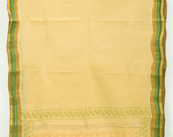 Vintage Indian Textile Cream Fabric Saree Crafting Drapery Sari TP3798