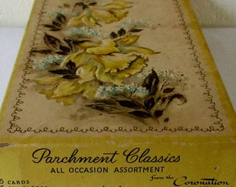 Vintage 1960s box of 10  unused Parchment Classics of  All Occasion Greeting Cards in original box By the Coronation Collection.**Epsteam