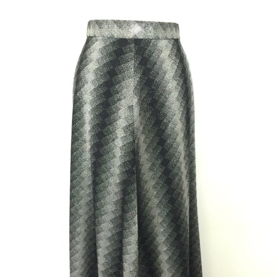 1970s maxi skirt black silver crimplene knit A line flared long skirt Gothic macabre 70s high waisted UK 10 disco sparkly chevron