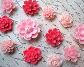 Pink Magnets, 12 pc Flower Magnets, Refrigerator Magnets, Kitchen Decor, Housewarming Gifts, Hostess Gifts, Wedding Favors, Small Gifts