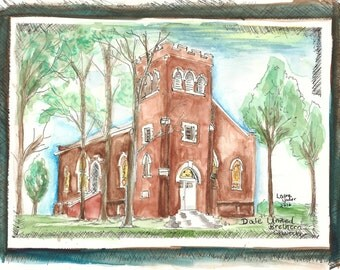 "United Brethern Church Dale Indiana, Watercolor Print, ""Free Shipping"" 11x14"