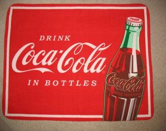 Coca Cola Coke Panel Fleece Throw Blanket