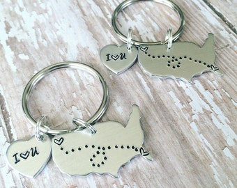 Custom Handstamped USA Keychain, State to State Long Distance Keychain Set, I love you heart keychain, Moving away gift,