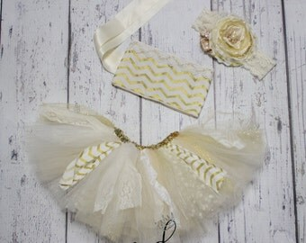 White Gold tutu top, ivory gold tieback top, baby tutu tops, toddler tieback top, tutu top only ivory gold Chevron lace birthday shirt only