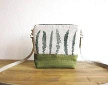 Crossbody green bag, Clutch Purse, Hand printed linen, wild grasses stamp, Small size handbag