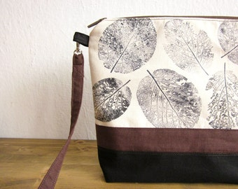 Crossbody bag, Hand printed leaves, canvas bag, Every day bag, Hand printed fabric, leaves stamp, middle size bag, natural handbag