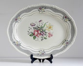 Vintage 1930s 1940s Ridgways Rutland Large Plate Platter Floral - Shabby Chic China