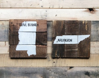 """Custom State silhouette and City pallet Wood Sign- 10""""X10"""""""