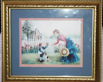 Vintage Framed Print by Glynda Turley Child and Mother in Garden