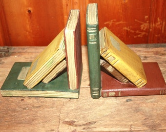Vintage Wooden Bookends in Shape of Books