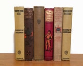 SPORTS Books for Boys Vintage Antique Decorative Books. Set of 6. Soldiers and Athletes. Man Cave