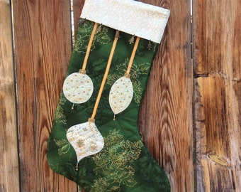Christmas Stocking with Hand Beading