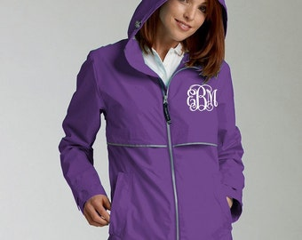 Monogrammed Purple Raincoat