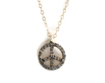 Peace Necklace charm raw natural diamonds gold