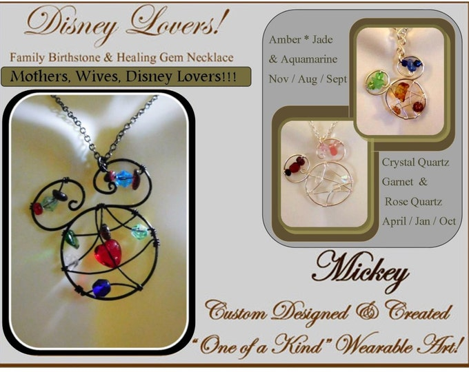mother gift,wife gift,Disney Lovers,Family Birthstone Jewelry,grandmother gift,,birthstone jewelry,Mickey Mouse,mickey jewelry