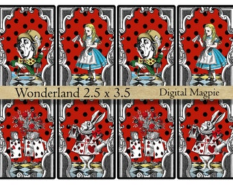 Alice in Wonderland gift tags printable digital collage sheet ATC images instant download for Alice party crafts 2.5 x 3.5 inches red black
