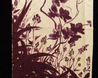 SF994 Purple Flowers on Cream Silk Fabric