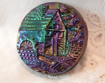 Carnaval Glass - Antique Picture Button of a Mill and Water Wheel 1 and 1/8 inch