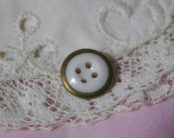 Metal Rimmed White Four Hole China Button