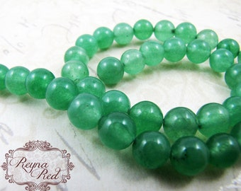Spruce Green Dyed Jade Smooth Round Beads, jade beads, round beads, dyed jade, dyed gemstone beads, beading supply, beads - reynaredsuppl