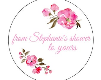 Personalized Shower to Yours Stickers, Peonies Stickers, Bridal Shower, Bridal Labels, Bath Labels, Pink Peonies Stickers, Scrub Labels