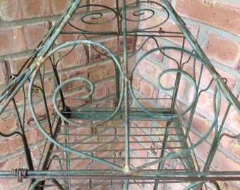 Tiered Metal  Plant Stand Removable Top Green Ornate Plant Stand