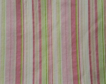 Pink, White and Green Striped  100% Cotton Fat Quarter