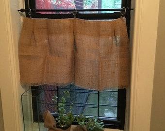 Natural Burlap Valance/Curtain, Burlap Valance, Window Treatments, Curtain & Window Treatments, Burlap Valance