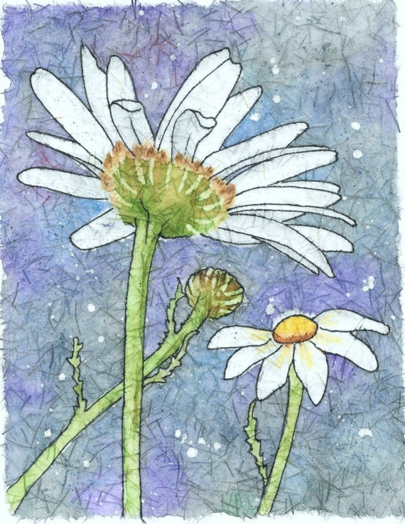 Daisies In Springtime Watercolor Batik On Rice By
