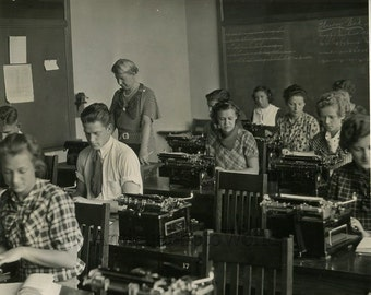 People with typewriter s typing class antique photo