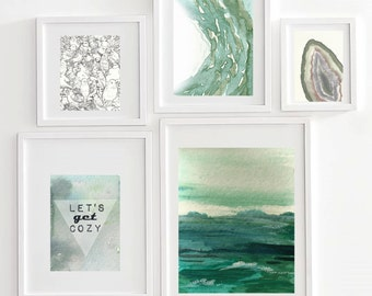 Modern Art Let's Get Cozy Wall Collage,art bundle,wall collage,colorfield painting,watercolor landscape,bird drawing,geode art,awakeyoursoul