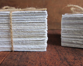"30 Handmade Recycled paper sheets, Homemade paper, Ecofriendly paper, Natural White paper, Writing paper, Craft paper, 3.5"" x 3.5"" (9 x 9cm)"