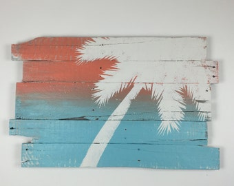 """Beach Decor Palm Tree Rt Lean 32"""" x 21"""" On Blue and Coral Sunset"""