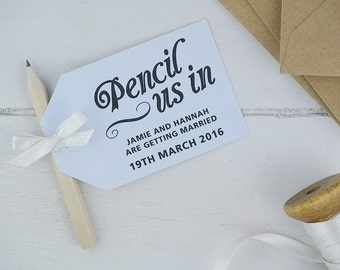 Pencil us in save the date cards in pastel blue x25