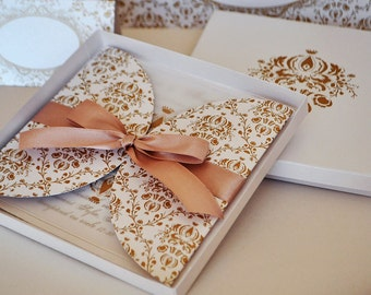 Elegant Gold and White Invitation in a Box / Gold Damask  Wedding Invitation