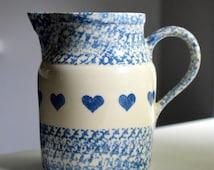 Roseville Stoneware Pitcher Blue Spongeware Hearts Friendship