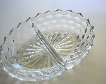 Fostoria American Clear Divided Serving Dish Cube Block