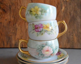 Tea Cup Roses Set Of 3 Signed, Hand Painted