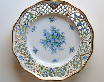 """Antique Hand Painted Plate Schumann Arzberg Chalet Forget Me Not Reticulated 7.5"""""""