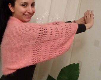 Hand knitted fluffy bolero,knit sleeves, women knitted bolero ,Coral Knit bolero,Bolero Shrug