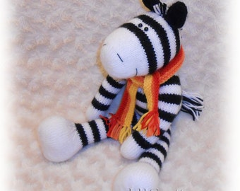 Zebra Knitted Toy Pattern (an extremely soft, huggable and cute toy)