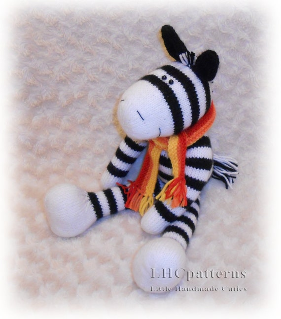 Zebra Knitted Toy Pattern an extremely soft huggable and
