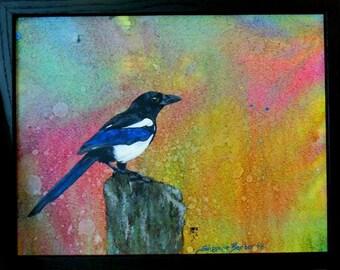Original acrylic Magpie painting small bird paintings